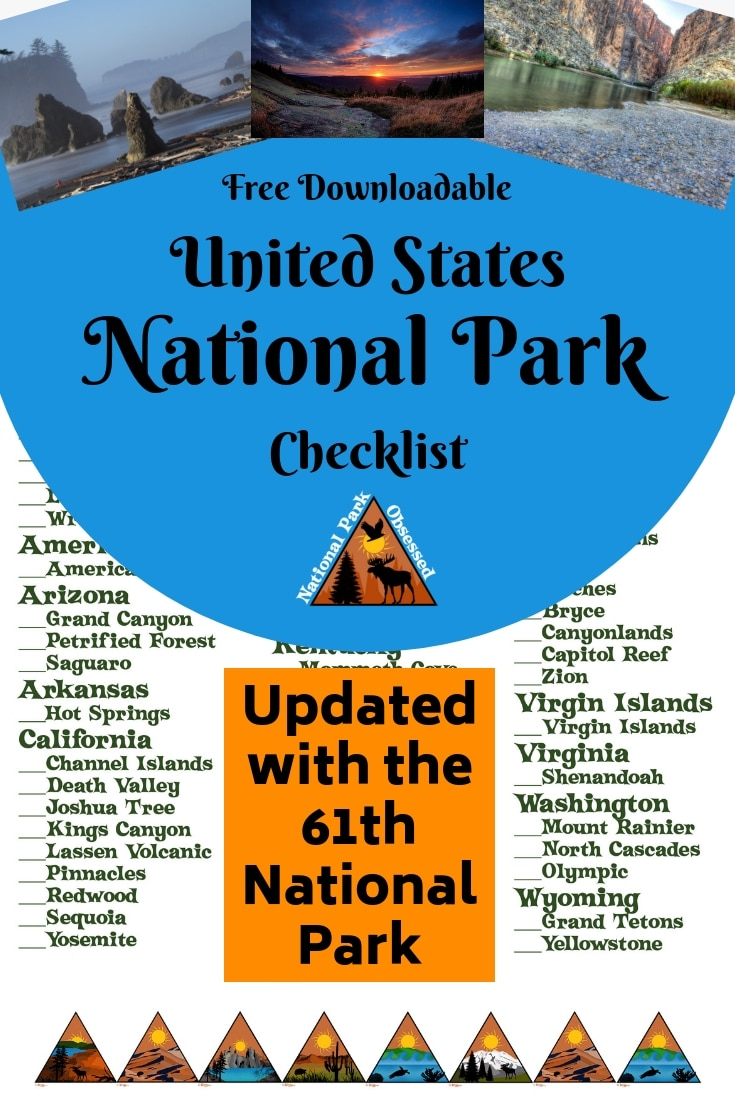 photograph relating to Printable National Park Checklist identified as United Says Countrywide Parks List (Up-to-date for the 61th