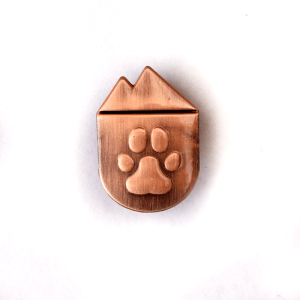 national park paws antique copper metal lapel pin