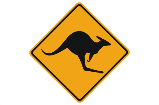 kangaroo warning sign rd299