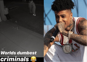 Blueface Shares Surveillance Video Of Robbers Trying To Break Into His Home