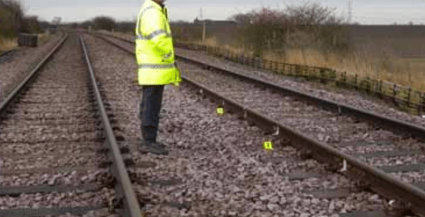 Rail worker re-enactment of site saftey position