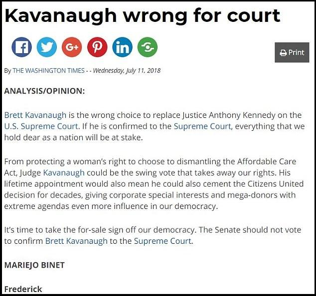 Identical Anti-Kavanaugh Letters Published By Newspapers Across The Country