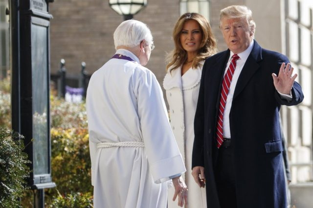 President Donald Trump, with first lady Melania Trump