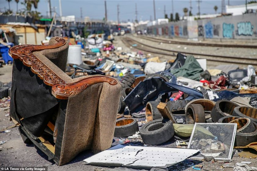 The city has said it will dispose of sofas, refrigerators and other large items in the 50-block area of downtown known as Skid Row. Piles of trash remain near the intersection of 25th St. and Long Beach Ave