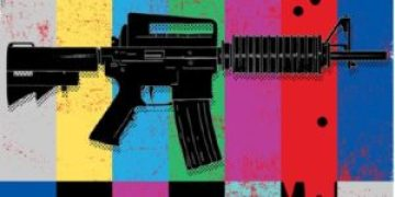 """Black automatic assault rifle against a colorful background riddled with bullet holes while the red section of the background """"bleeds"""""""
