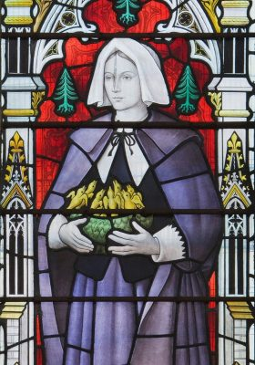 Stained glass window depicting Anne Bradstreet