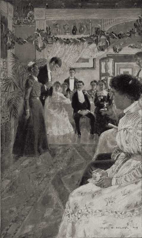 """An illustration which shows the climactic scene of the short story """"The Wife of His Youth"""" (1898) by Charles Chesnutt"""