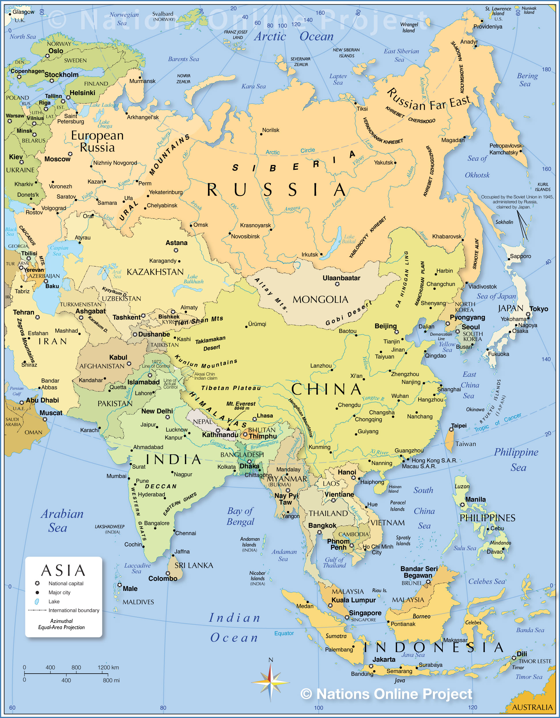 Asia Bodies Of Water Map : bodies, water, Political, Nations, Online, Project