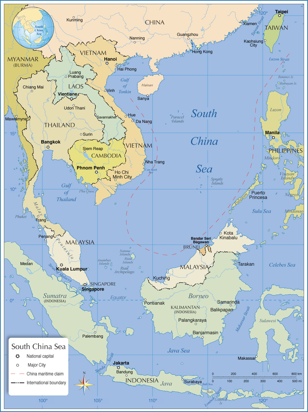 Asia Bodies Of Water Map : bodies, water, Political, South, China, Nations, Online, Project