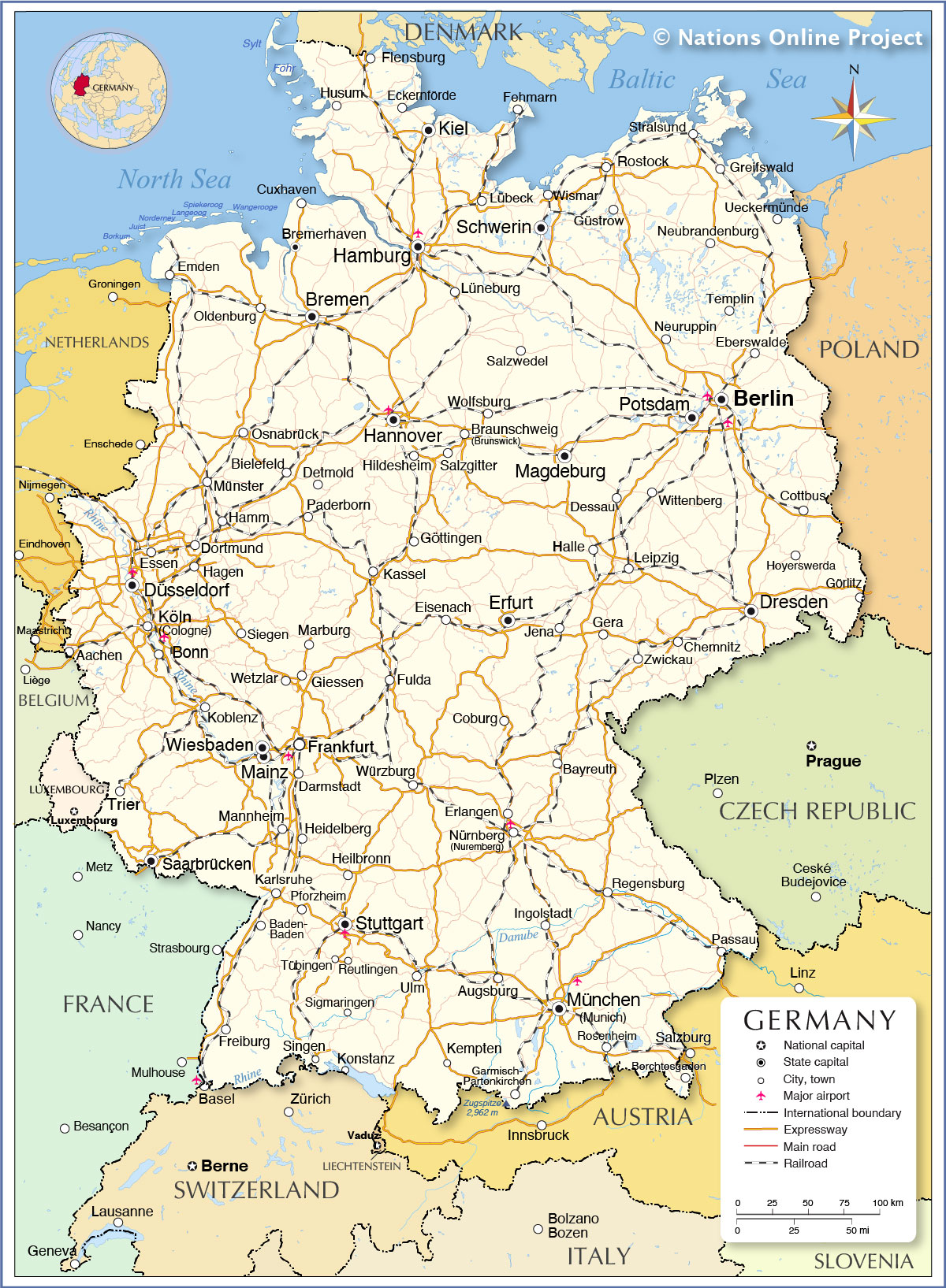 Maps Of Germany And Switzerland : germany, switzerland, Political, Germany, Nations, Online, Project