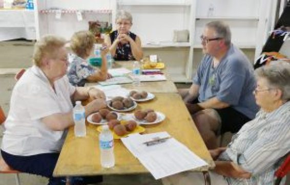 Commiserating around the vegetable entries, during Chesterville Fair homecraft judging early this afternoon, Aug. 26. Zandbergen photo, Nation Valley News
