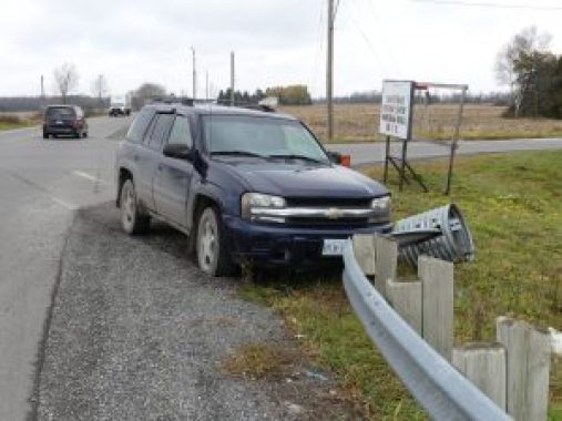 Nation Valley News photographed this truck's meeting with a County Rd. 1 guardrail in South Mountain, Nov. 17. Zandbergen photo, Nation Valley News