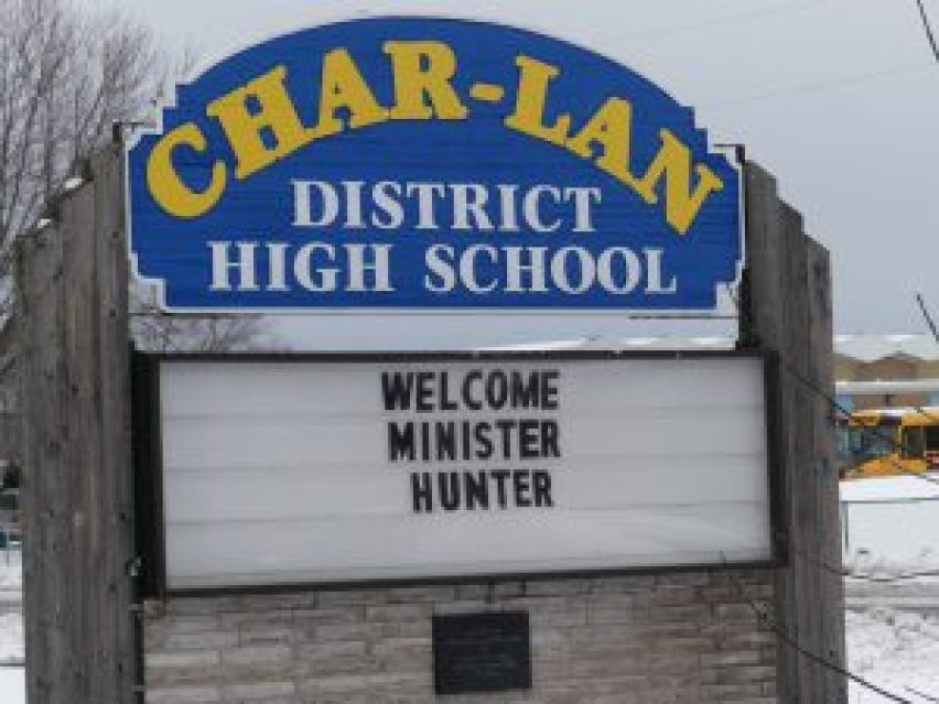 This sign — and others in Williamstown — greeted Education Minister Mitzie Hunter's visit to Char-Lan District High School, slated for closure by the Upper Canada District School Board. Zandbergen photo, Nation Valley News