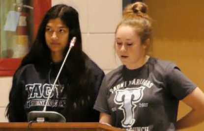 Ayeisha Khan (left) and Brooklyn Woodside present in favour of preserving the existing boundaries for Tagwi Secondary School. Zandbergen photo, Nation Valley News