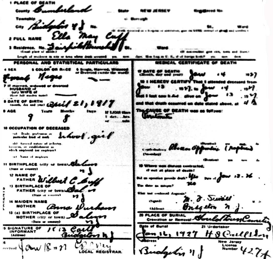 Mitsawokett: New Jersey death certificates