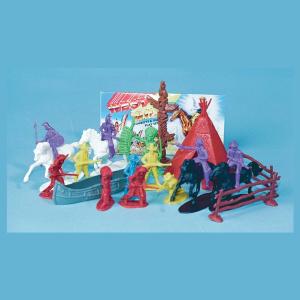 21 Piece Cowboy Indian Plastic figure Play Set