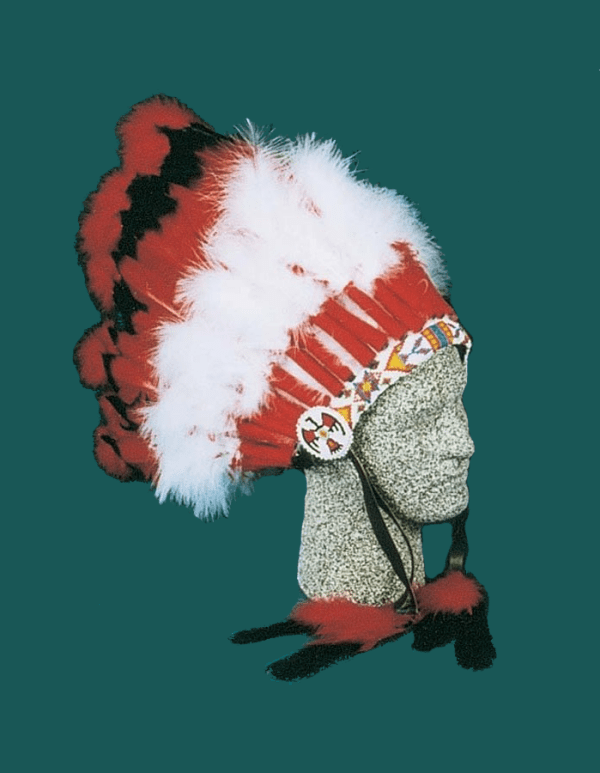 29 Feather Ceremonial Headdress Red White Black