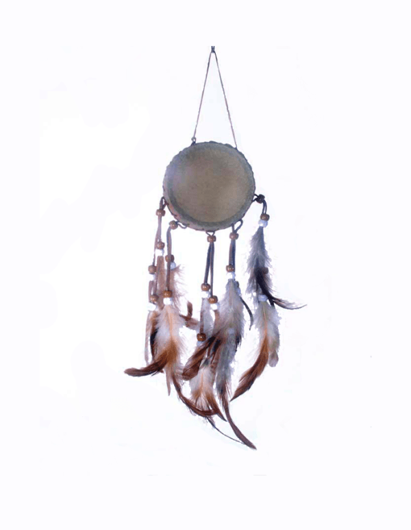 3 Inch Pigskin Drum With Sinew Feathers and Beads