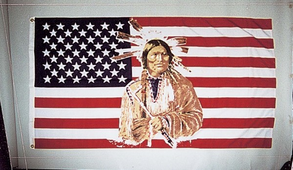 American Flag with Indian Chief