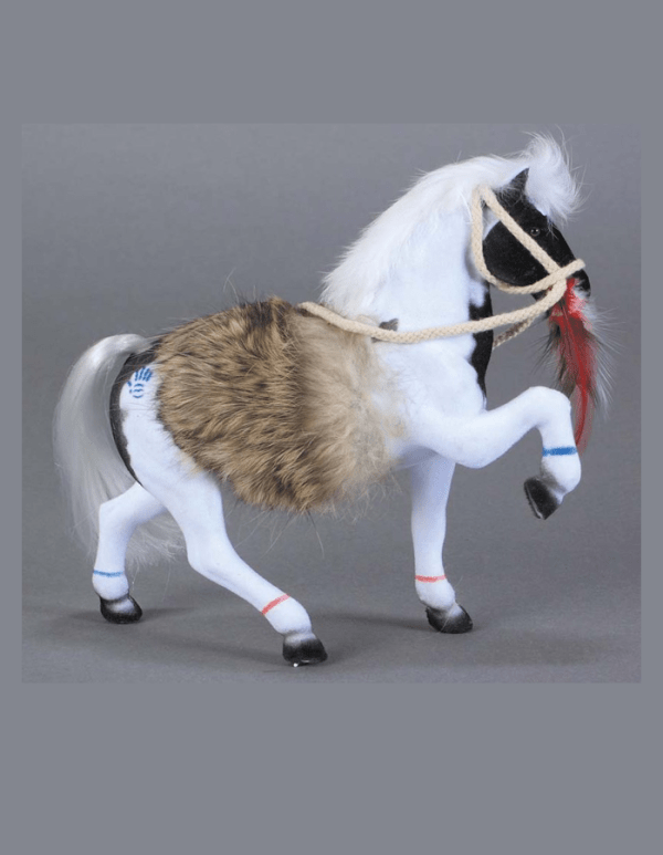 Flocked Paint Horse With Fur Blanket