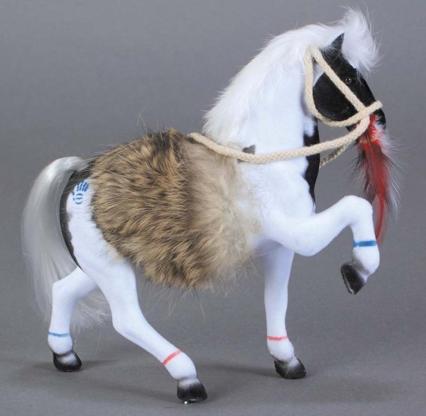 Flocked Pinto Paint Horse With Fur Blanket 11-394