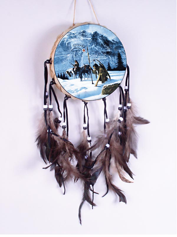 Indian Braves In Winter Chief In Mountain Drum 70-600-26
