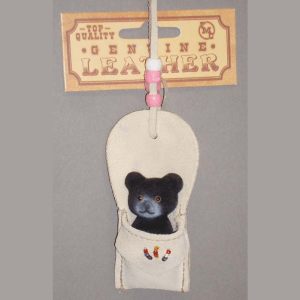 Suede Pouch with Mini Black Bear Necklace