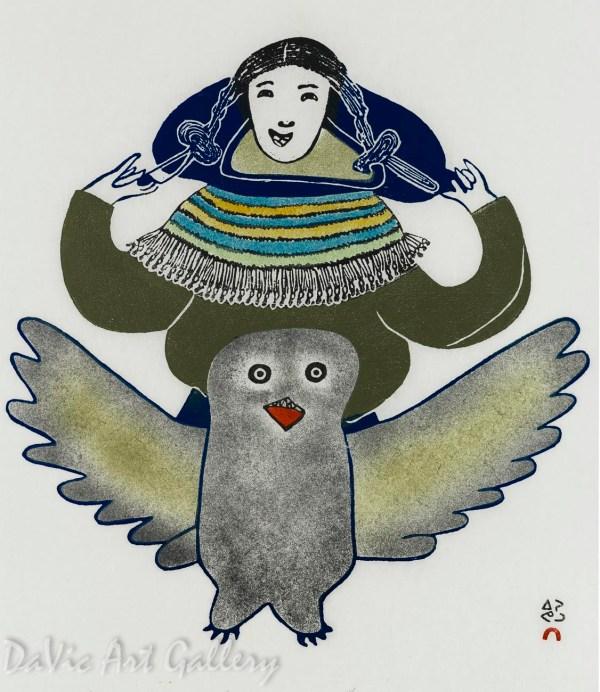 'young Woman And Owl' Pitseolak Ashoona Native
