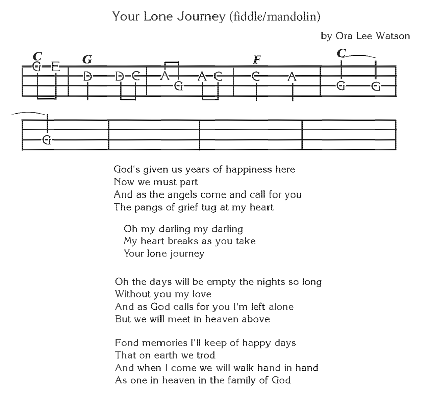 Your Lone Jouney - Fiddle or Mandolin