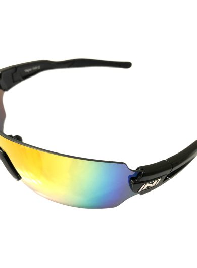 Optic Nerve Vapor Cycling Sunglasses - Shiny Black Frame - Smoke Red Mirror