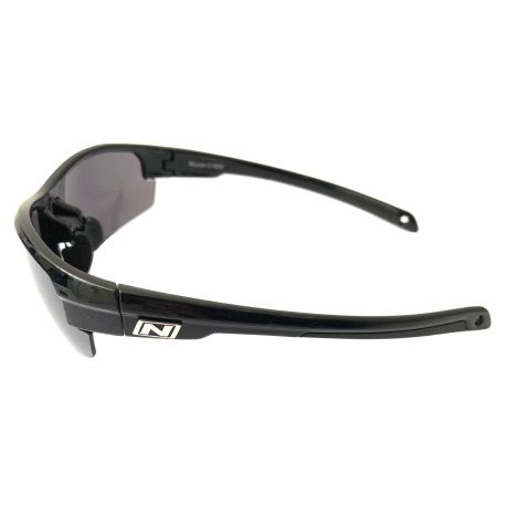 Optic Nerve Micron Sunglasses - Shiny Black Frame - Smoke Silver Flash Lens