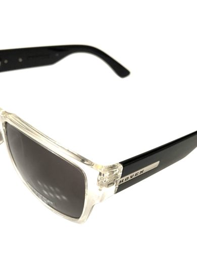Hoven Vision Mosteez Sunglasses - Clear & Black Frame - Grey Lens