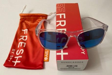 Spy Optic Sundowner Sunglasses - Crystal Frame - Gray Dark Blue Spectra