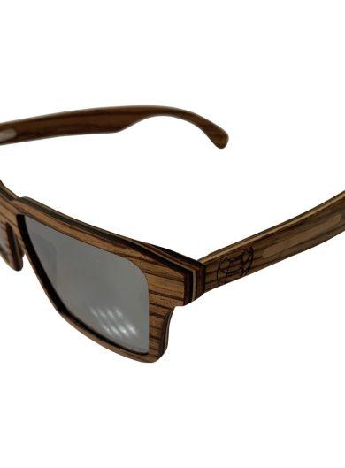 Earth Wood Piha Sunglasses - Zebra Wood POLARIZED Black Mirror