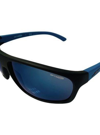 Arnette Burnout Sunglasses - Fuzzy Black and Blue Frame - Light Mirror Lens
