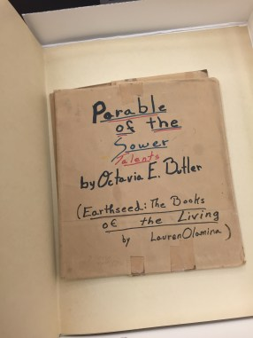 Parable of the Sower & Talents Notebook Cover: from Octavia E. Butler Papers, from The Huntington Library