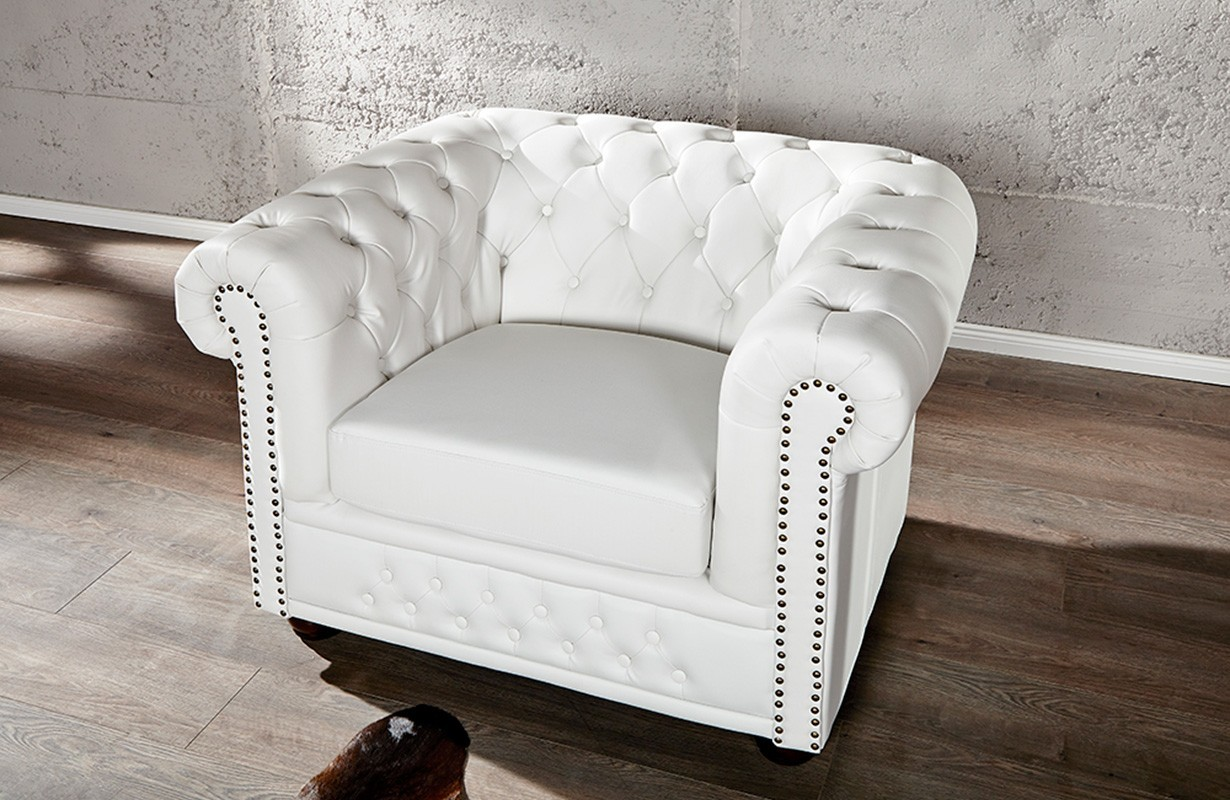 Relaxo Sessel Nativo Mobilier Moderne Fauteuil Design Chesterfield White