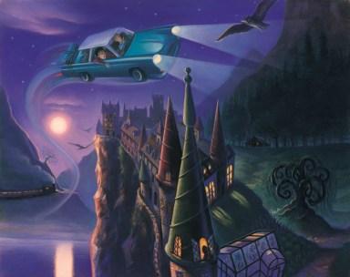 """Rony e Harry chegando em Hogwarts em """"A Câmara Secreta"""""""