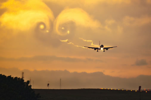 Wake vortices – invisible spirals of air created by aircraft.