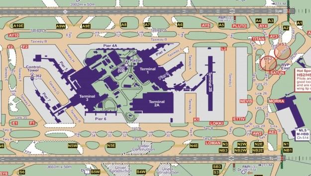 An extract from the Heathrow aerodrome chart.