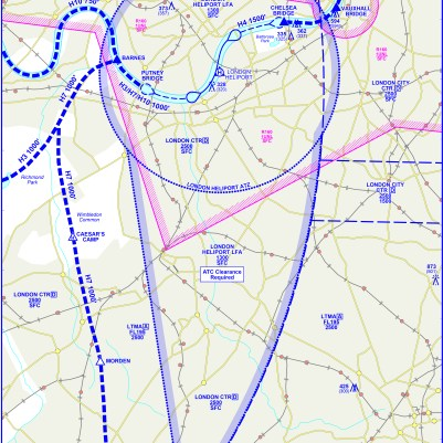 London Heliport inbound and outbound procedures.