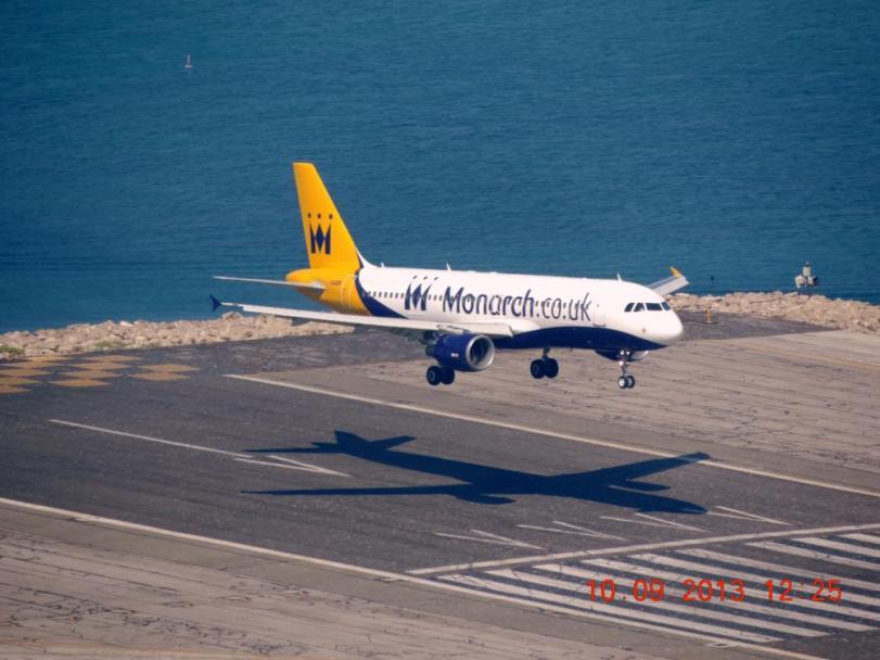 Monarch A320 landing at Gibraltar International Airport taken from Upper Rock #GibraltarNationalDay.