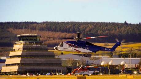 Helicopter taking off at Aberdeen