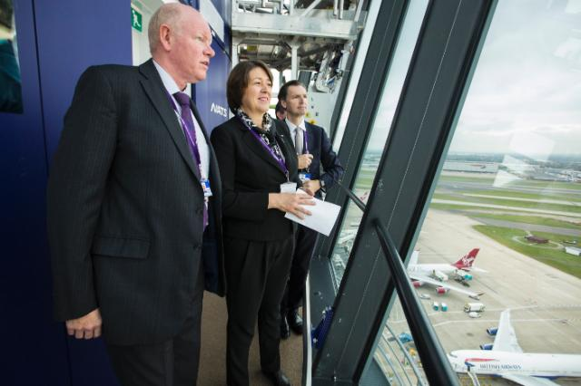 (L to R: Jon Proudlove - NATS, Violeta Bulc – European Transport Commissioner, John Holland Kaye – CEO Heathrow Airport Holdings)