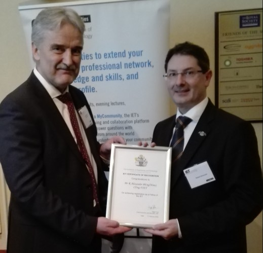 Bob Alexander receiving his IET Fellowship