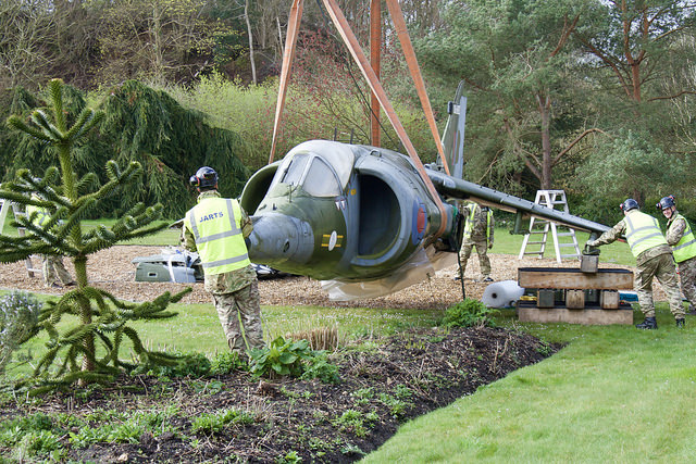 The Harrier being removed from Swanwick Control Centre