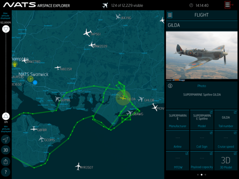 A Spitfire spotted on the app tracked by UK Radar data
