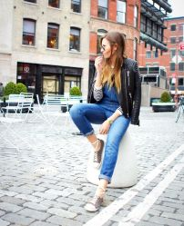 Overalls, leather jacket, sneakers