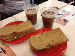 Day 2: Breakfast for champions - kaya toast with iced milo.