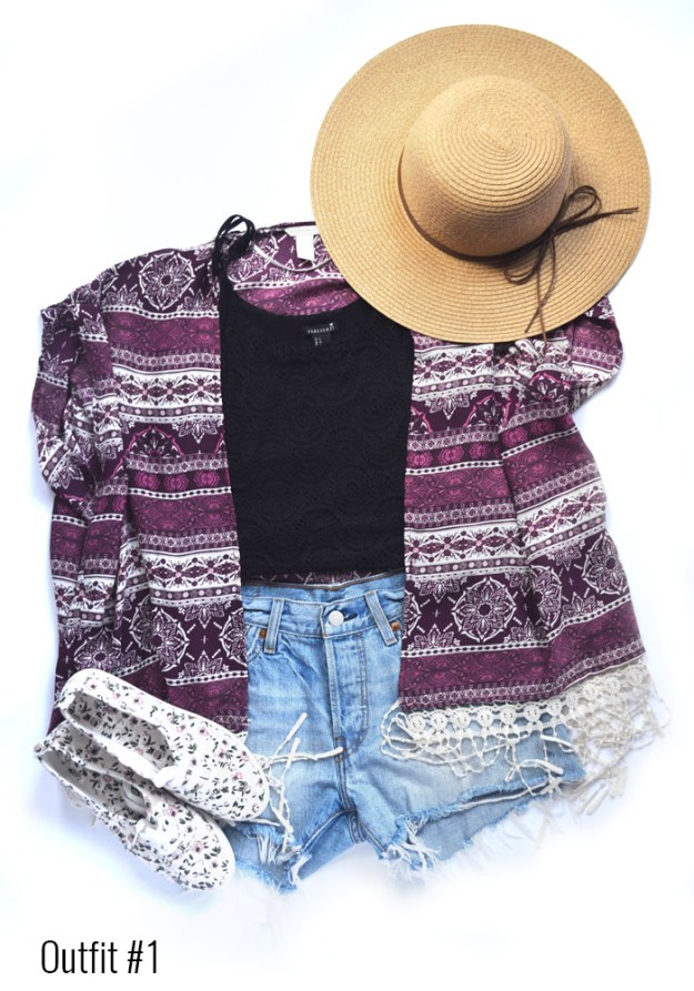 Coachella outfit # 1 - Jean shorts, crop top, kimono // Nattie on the Road